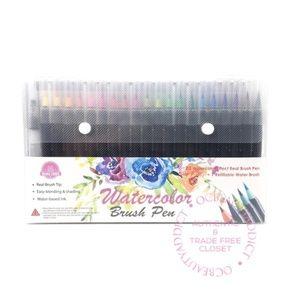 Watercolor Brush Art Pens - 20 Markers + Paper Pad